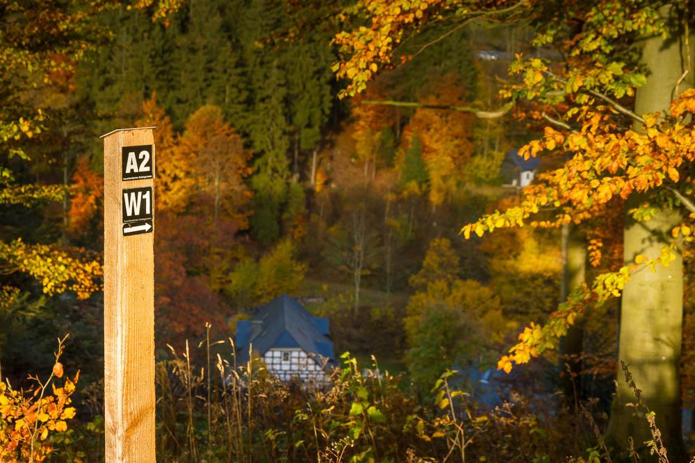Blick vom W1 auf Gasthof Braun